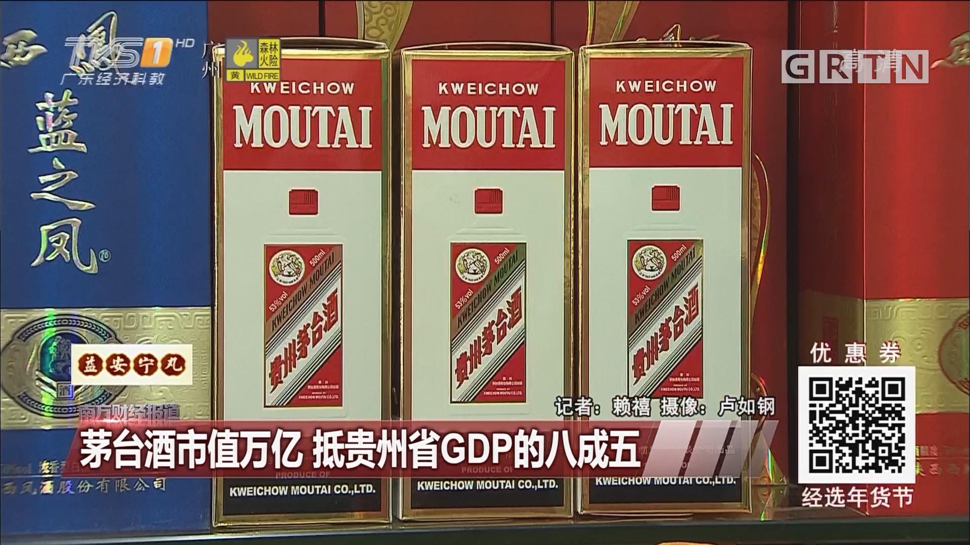 茅台酒市值万亿 抵贵州省GDP的八成五