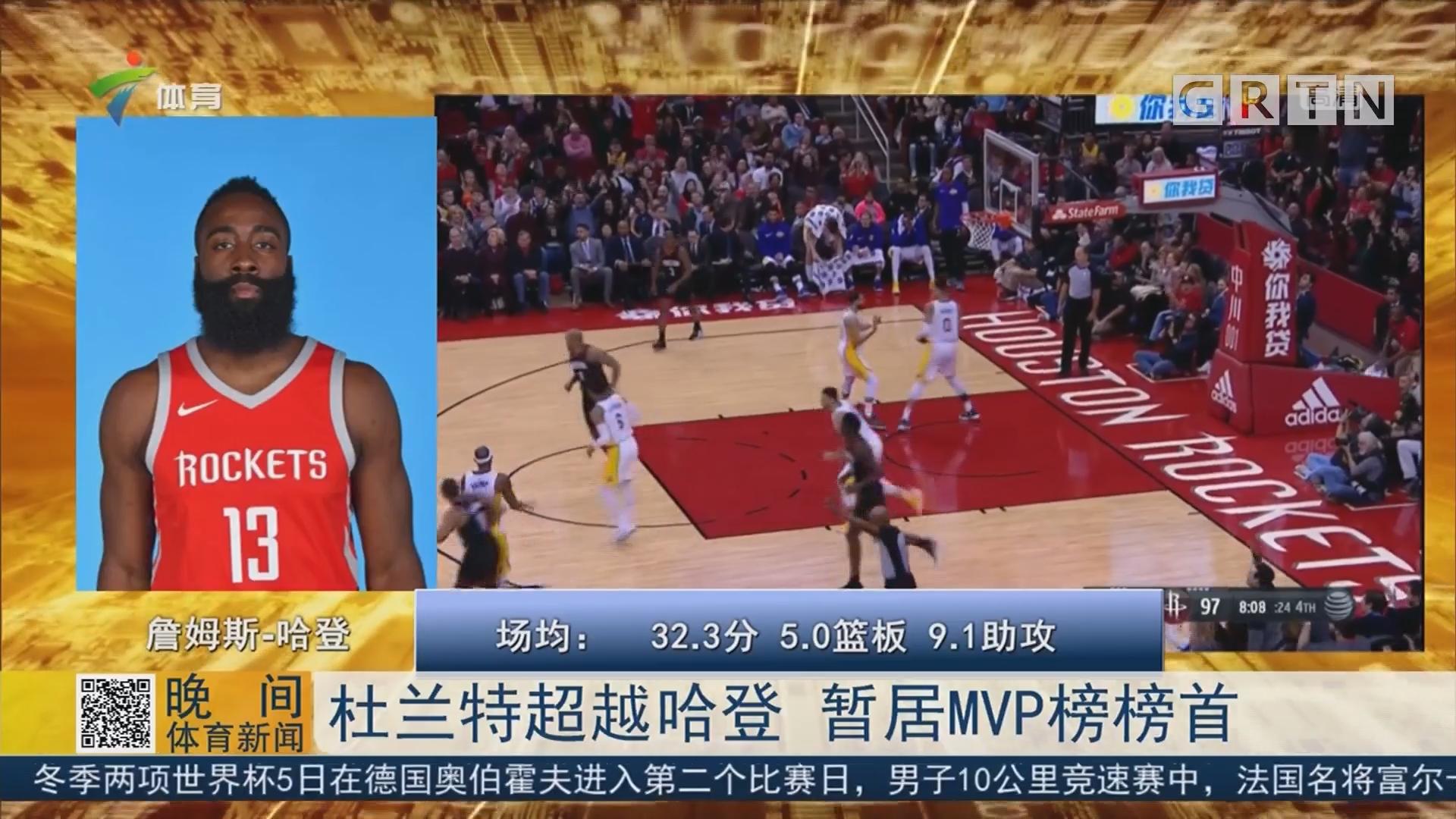 杜兰特超越哈登 暂居MVP榜榜首