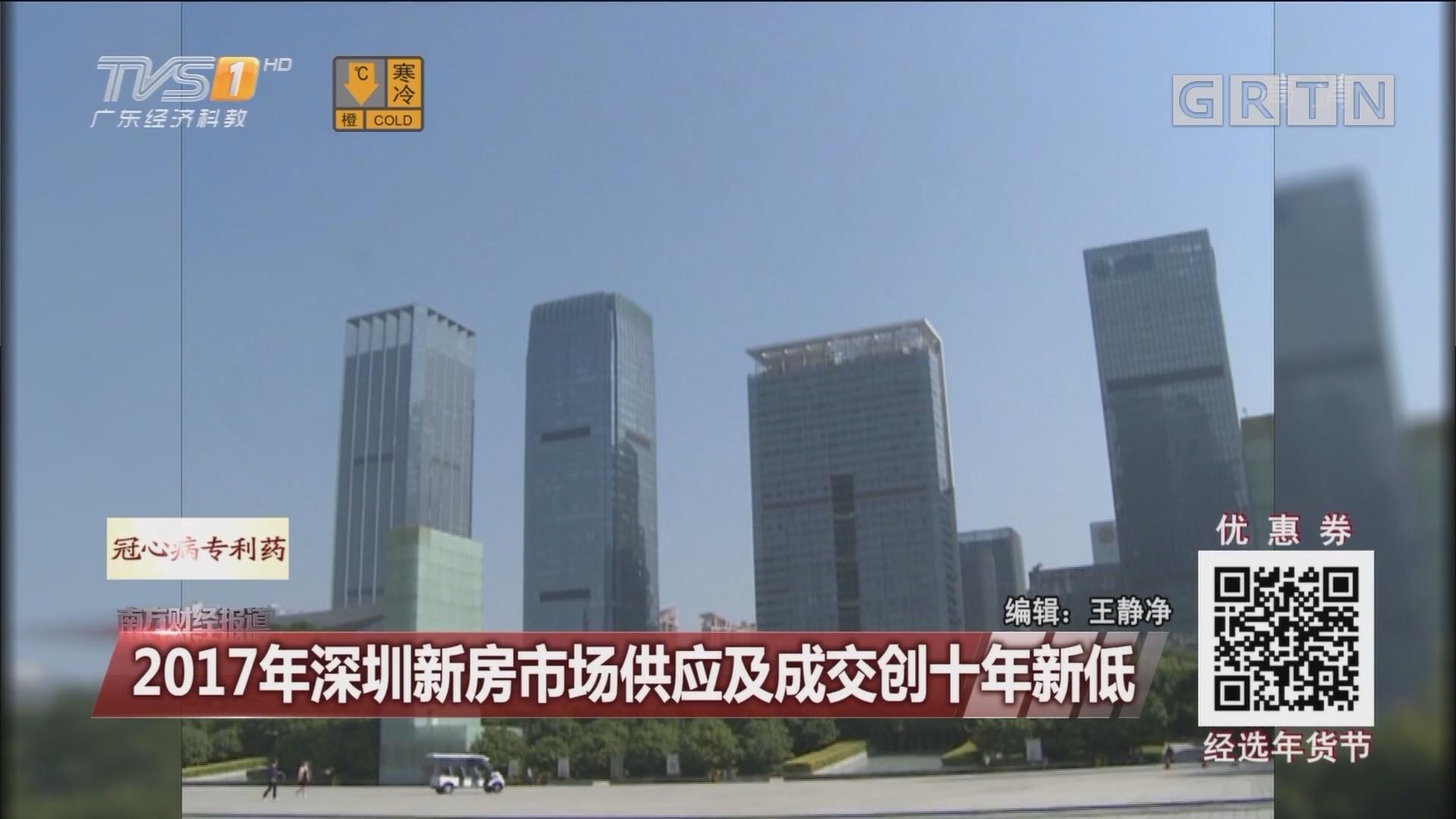 2017年深圳新房市场供应及成交创十年新低