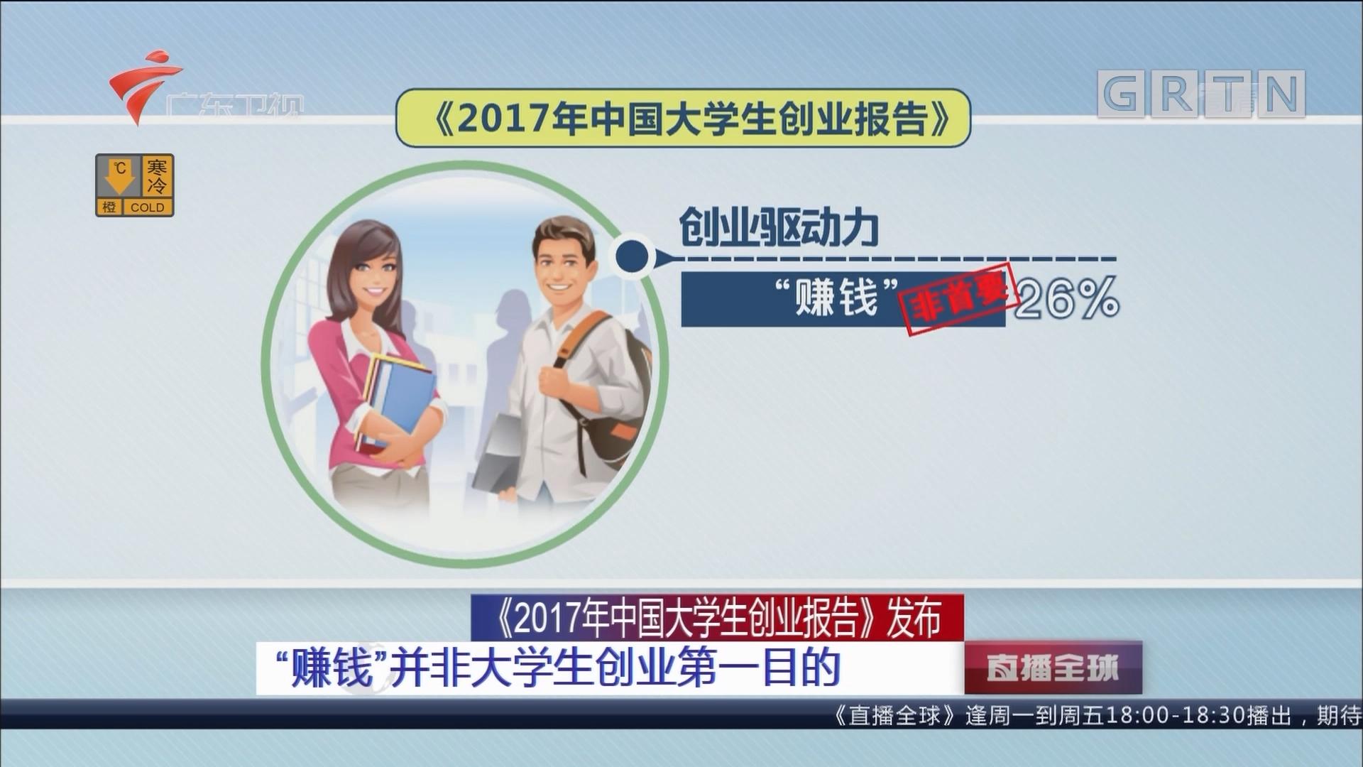 """《2017年中国大学生创业报告》发布 """"赚钱""""并非大学生创业第一目的"""