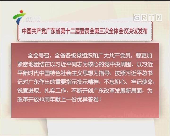中国共产党广东省第十二届委员会第三次全体会议决议发布
