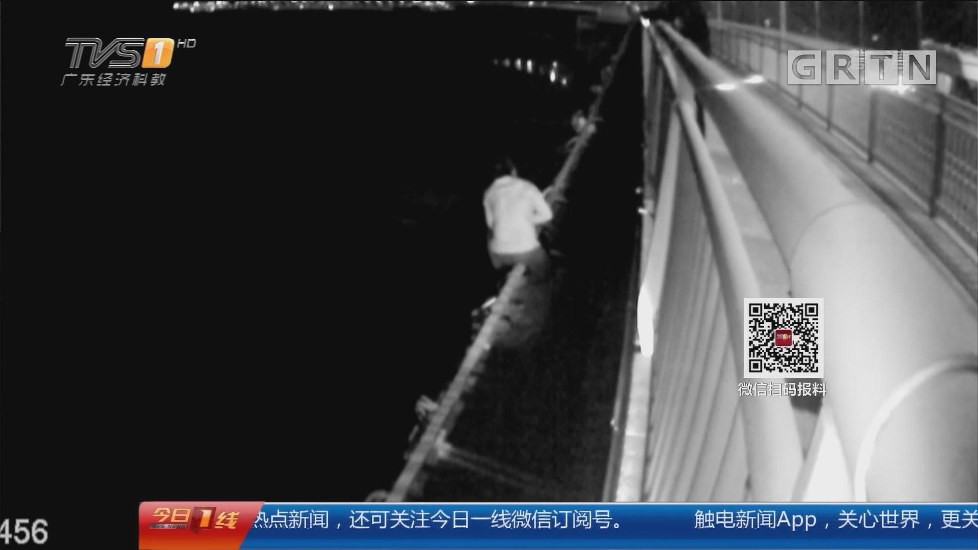 广州南沙:男子跳桥 民警边防水陆大营救