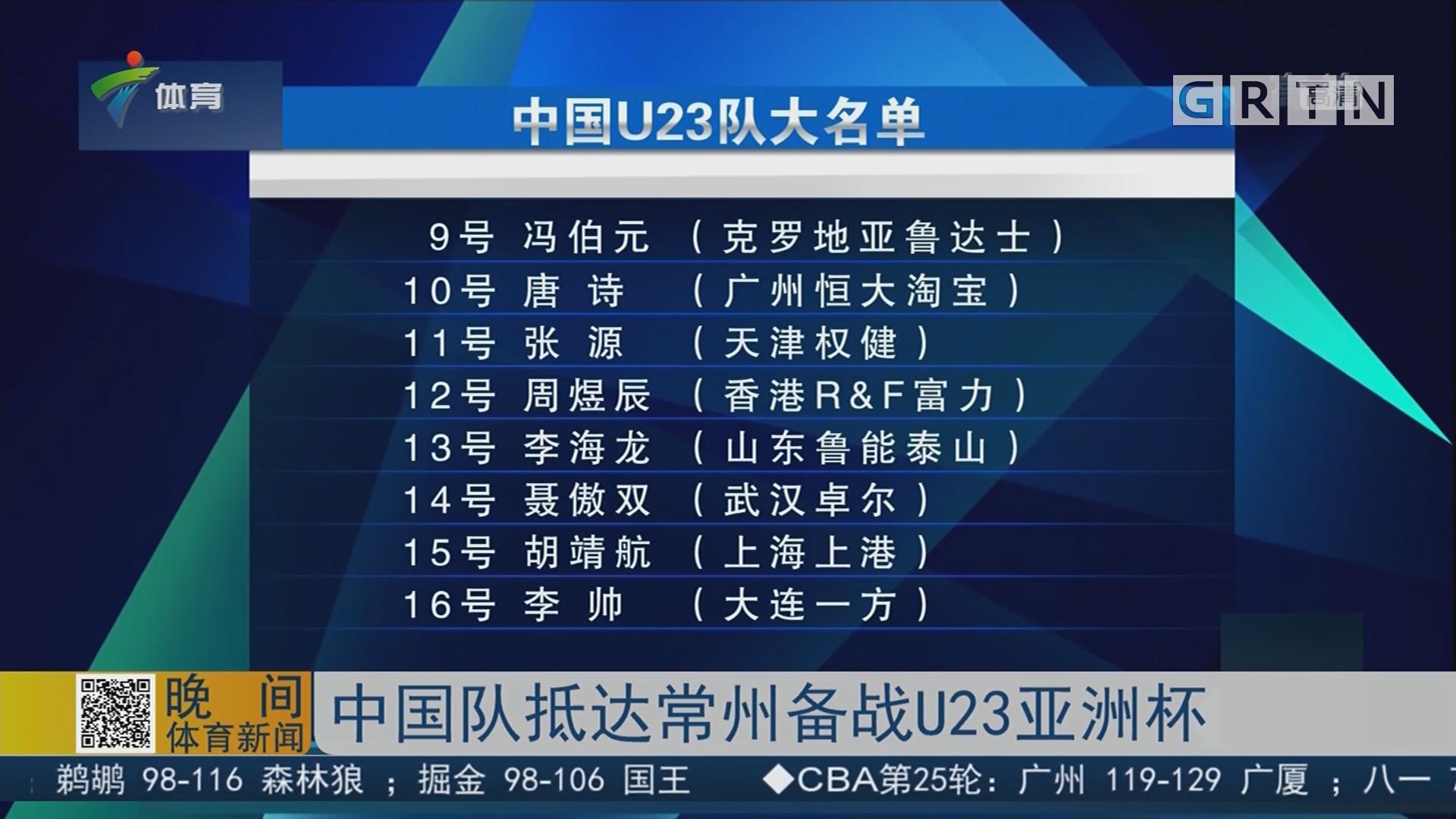 中国队抵达常州备战U23亚洲杯