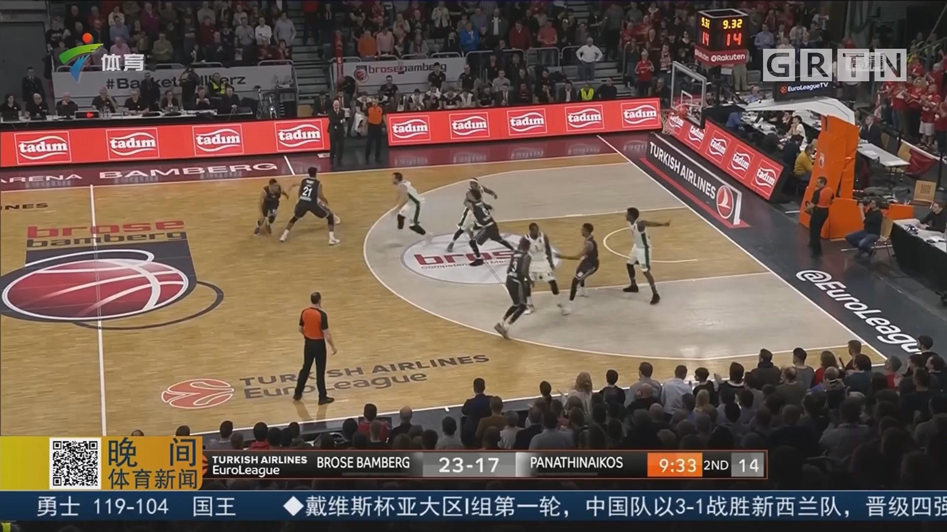 欧洲篮球冠军联赛 班贝格大胜帕纳辛奈科斯