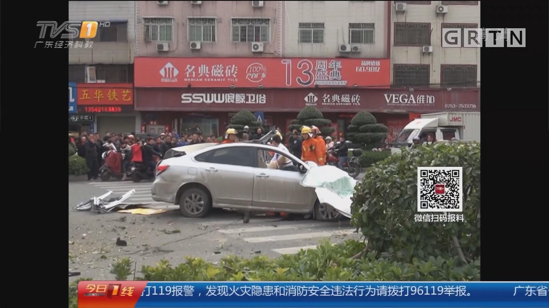 交通安全:梅州 小车撞绿化带 警方通报两死一伤
