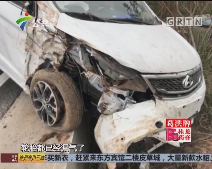 珠海:新手司机冲上绿化带 原来是瞌睡惹祸