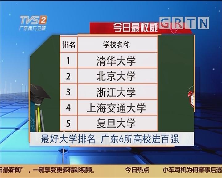 今日最权威:最好大学排名 广东6所高校进百强