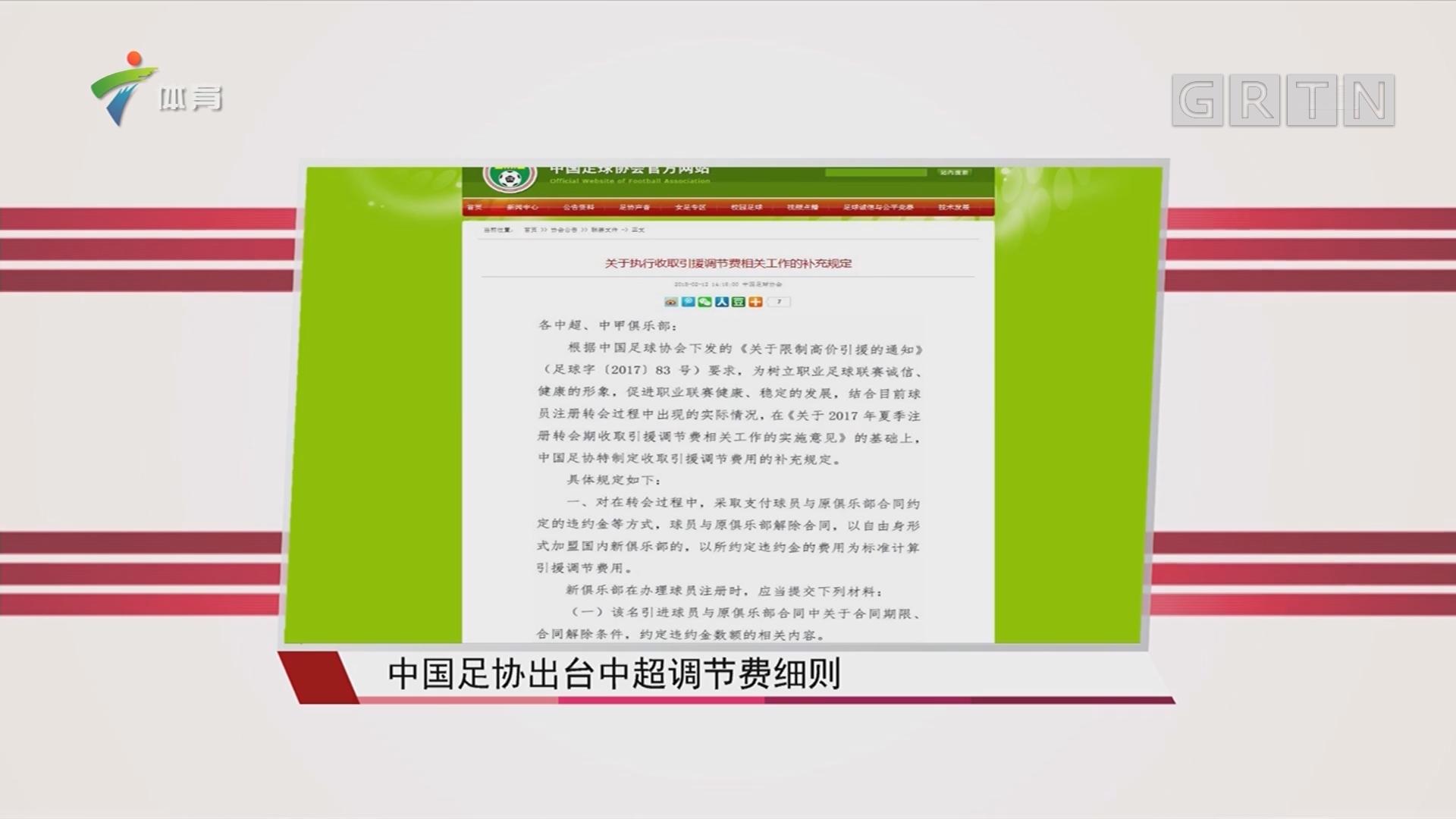 中国足协出台中超调节费细则