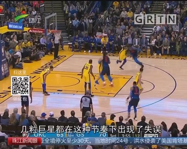 NBA:库里三节收工 勇士大胜雷霆