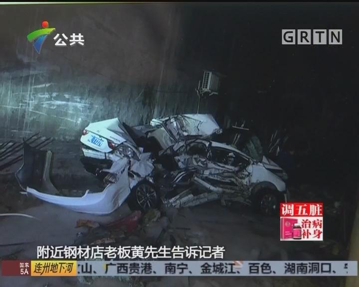 惠州:水泥车突然失控 冲向民房连撞两车