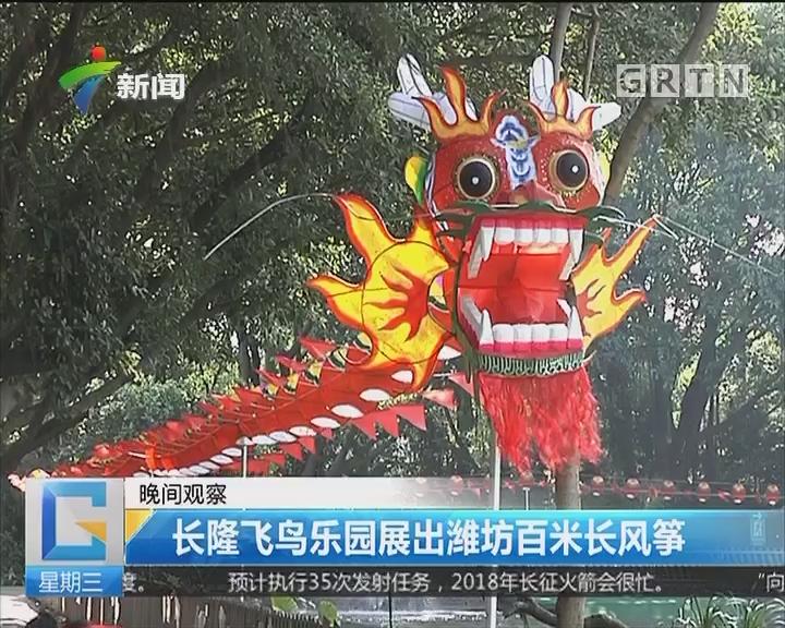 长隆飞鸟乐园展出潍坊百米长风筝