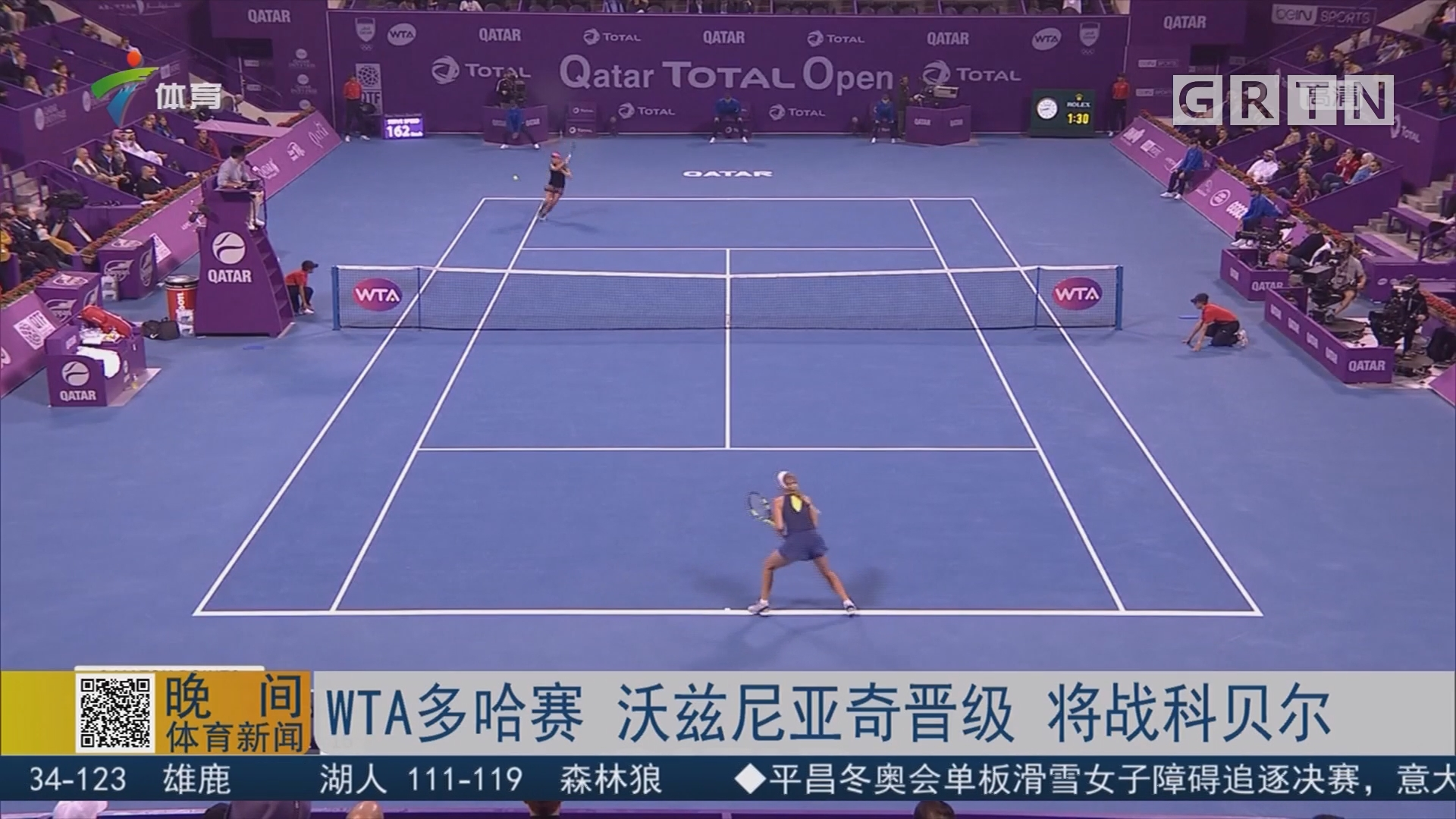 WTA多哈赛 沃兹尼亚奇晋级 将战科贝尔