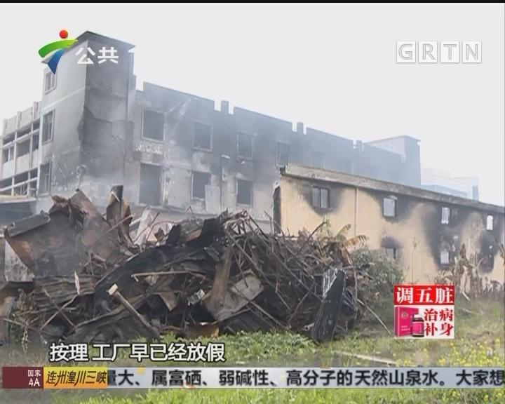 佛山:工厂仓库突然起火 燃烧近八小时