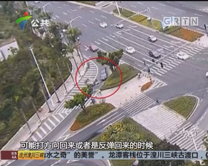 珠海:司机刹车当油门 小车闹市空翻