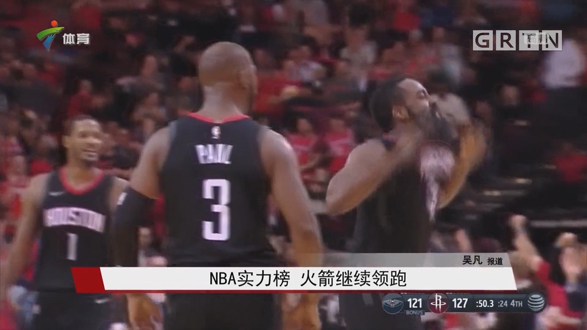 NBA实力榜 火箭继续领跑