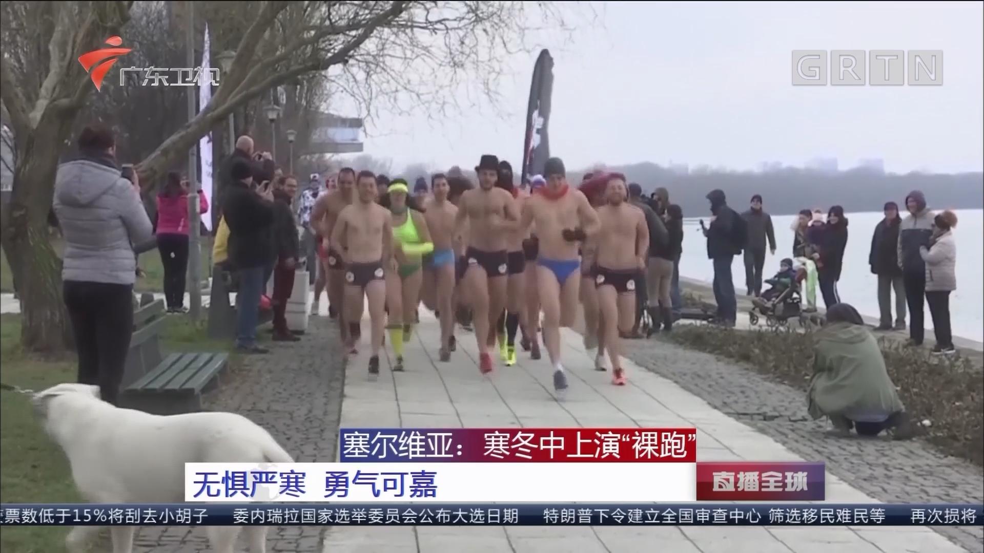 """塞尔维亚:寒冬中上演""""裸跑"""" 无惧严寒 勇气可嘉"""