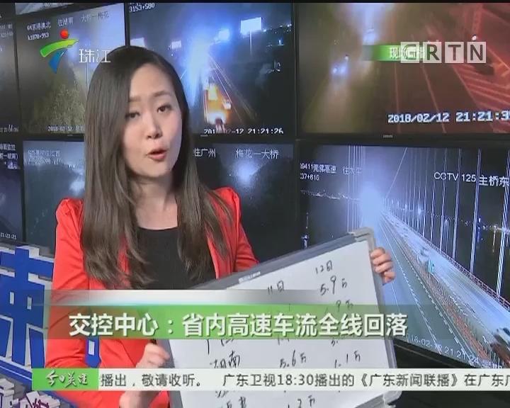 交控中心:省内高速车流全线回落