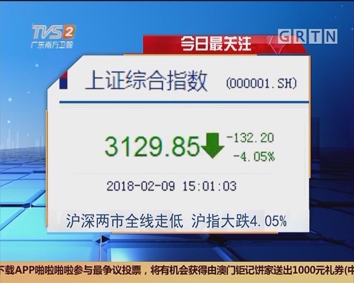 今日最关注:沪深两市全线走低 沪指大跌4.05%