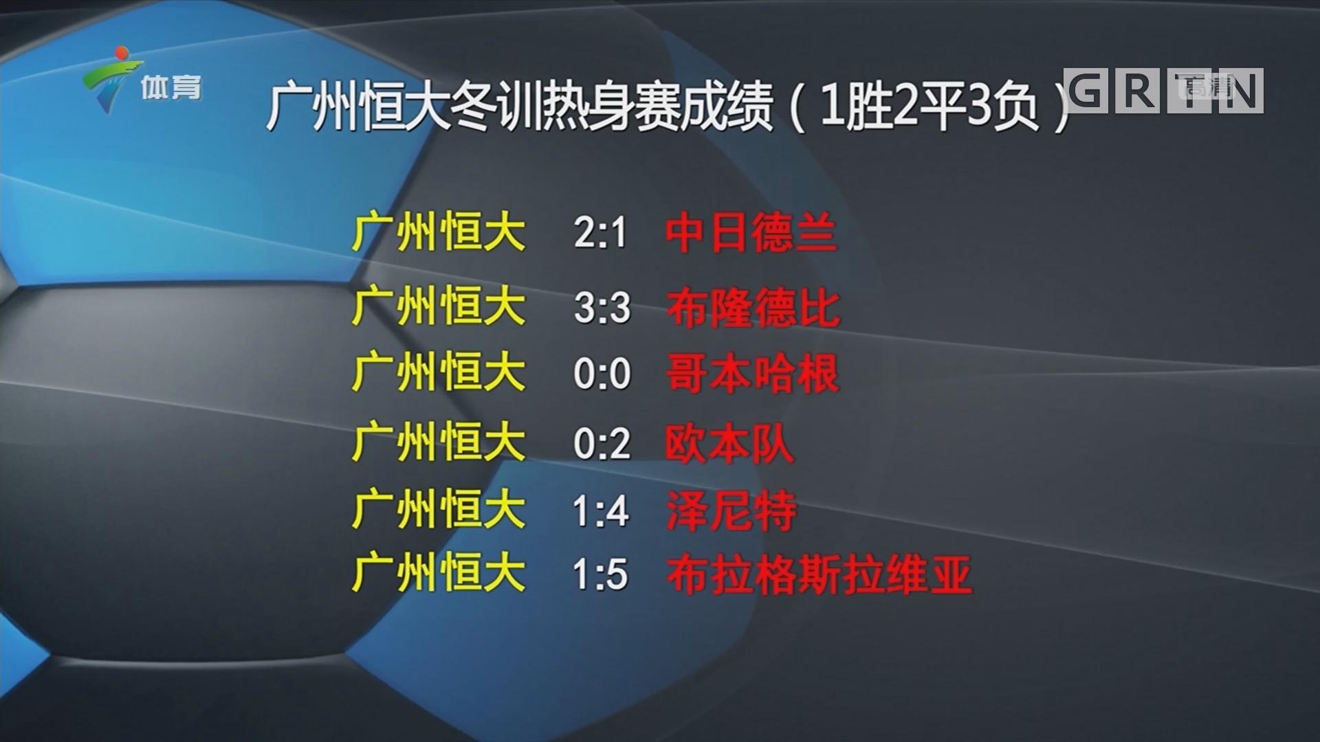 广州恒大冬训热身赛成绩(1胜2平3负)