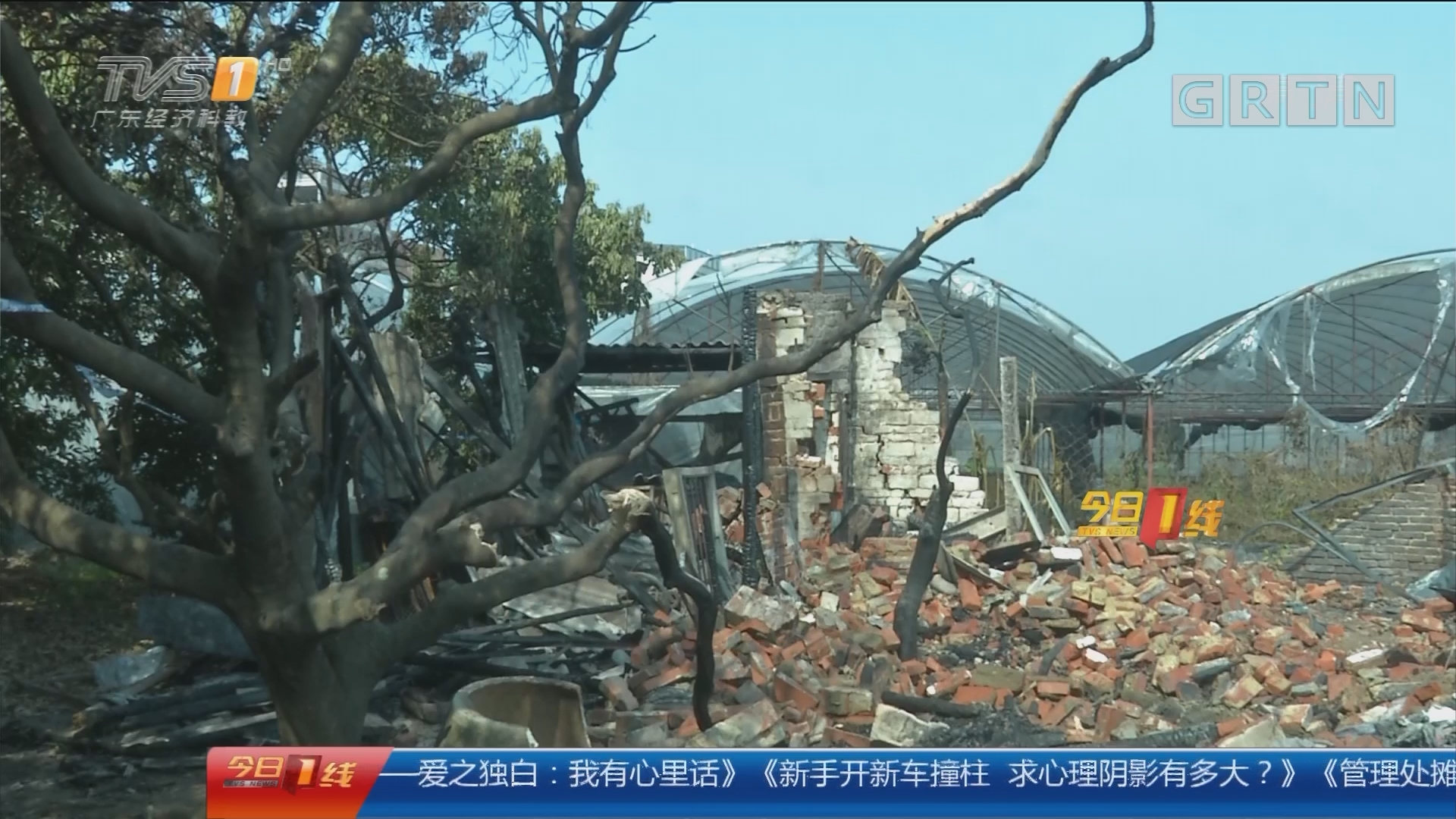 广州白云:垃圾回收站凌晨大火 居民忙逃离