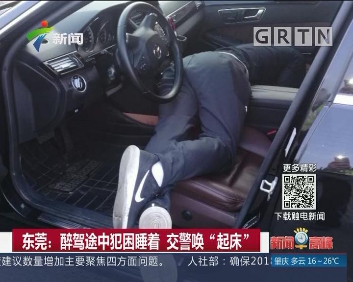 """东莞:醉驾途中犯困睡着 交警唤""""起床"""""""