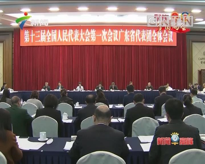 十三届全国人大一次会议广东代表团举行全体会议