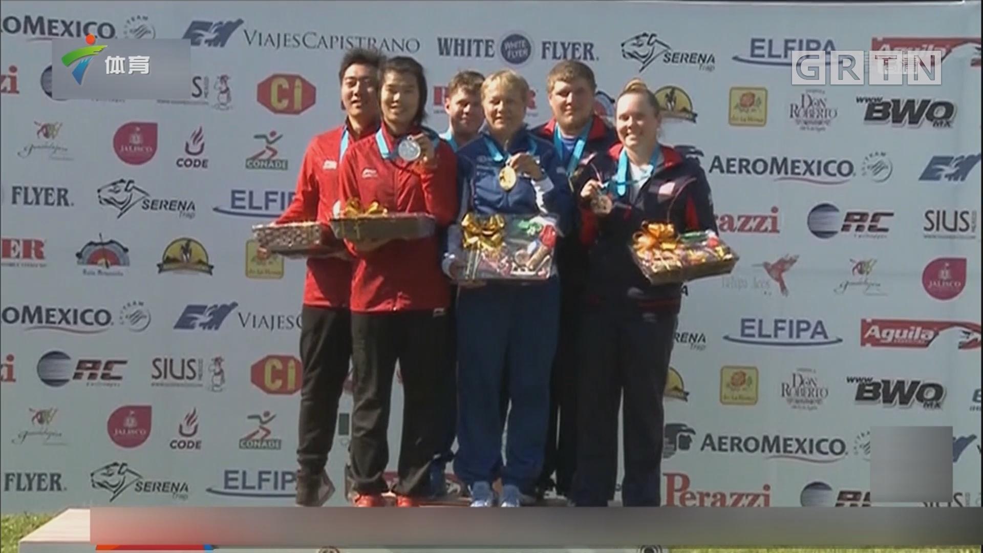 射击世界杯 中国队获飞碟多向混合赛第二