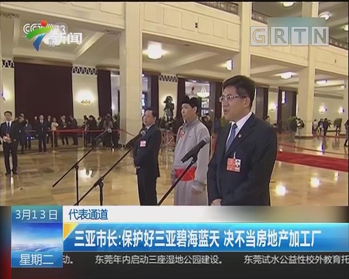 代表通道 三亚市长:保护好三亚碧海蓝天 决不当房地产加工厂