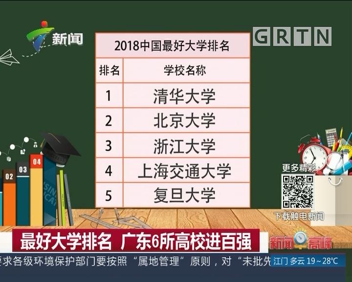 最好大学排名 广东6所高校进百强