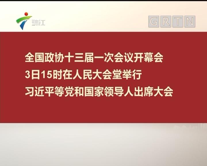 全国政协十三届一次会议开幕会 3日15时在人民大会堂举行 习近平等党和国家领导人出席大会