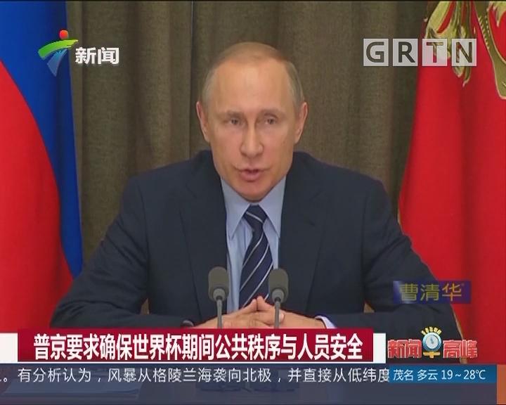普京要求确保世界杯期间公共秩序与人员安全