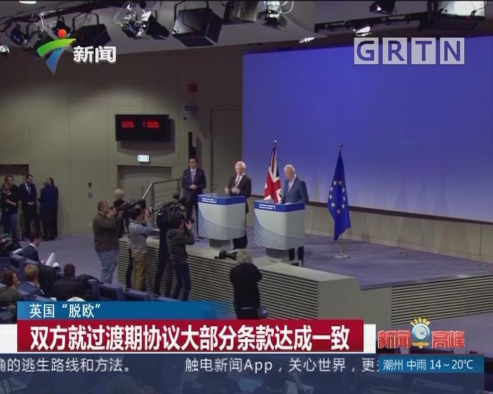 """英国""""脱欧"""":双方就过渡期协议大部分条款达成一致"""
