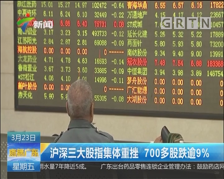 沪深三大股指集体重挫 700多股跌逾9%