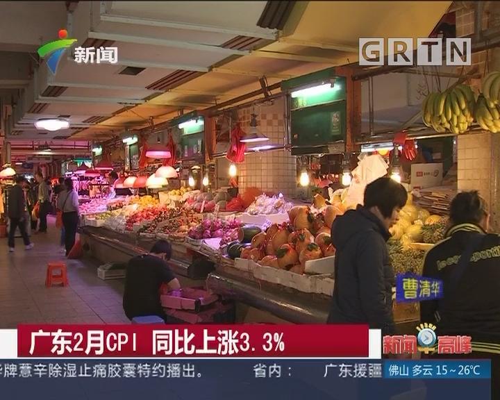 广东2月CPI 同比上涨3.3%