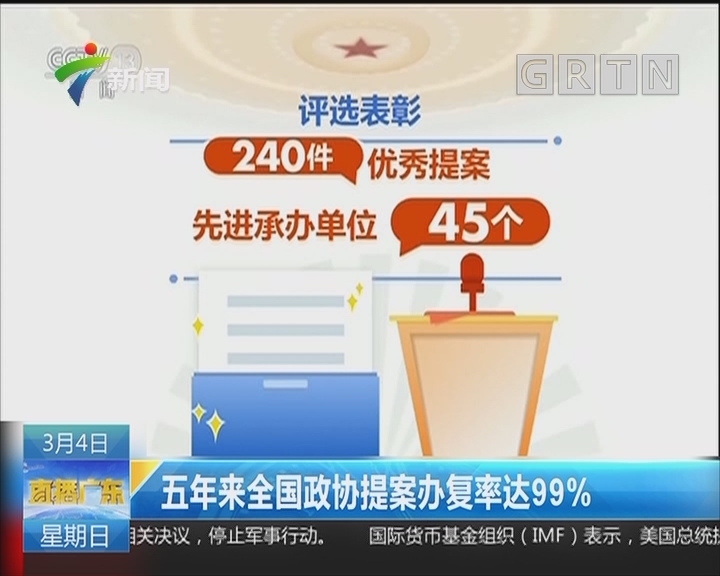 五年来全国政协提案办复率达99%