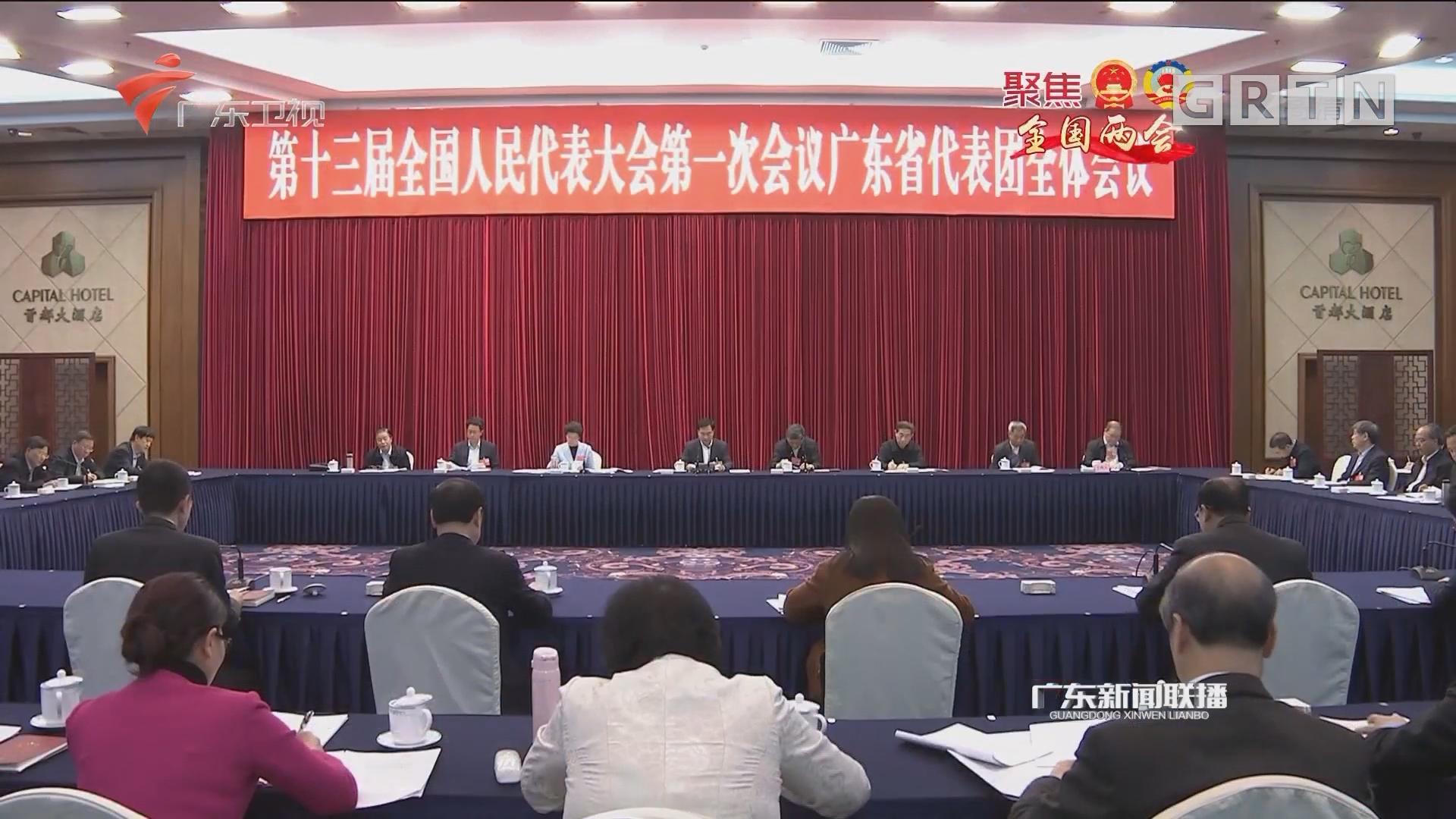 广东代表团举行全体会议审议监察法草案 李希马兴瑞李玉妹等代表发言