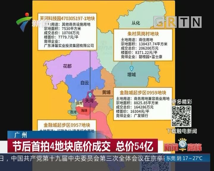 广州:节后首拍4地块底价成交 总价54亿