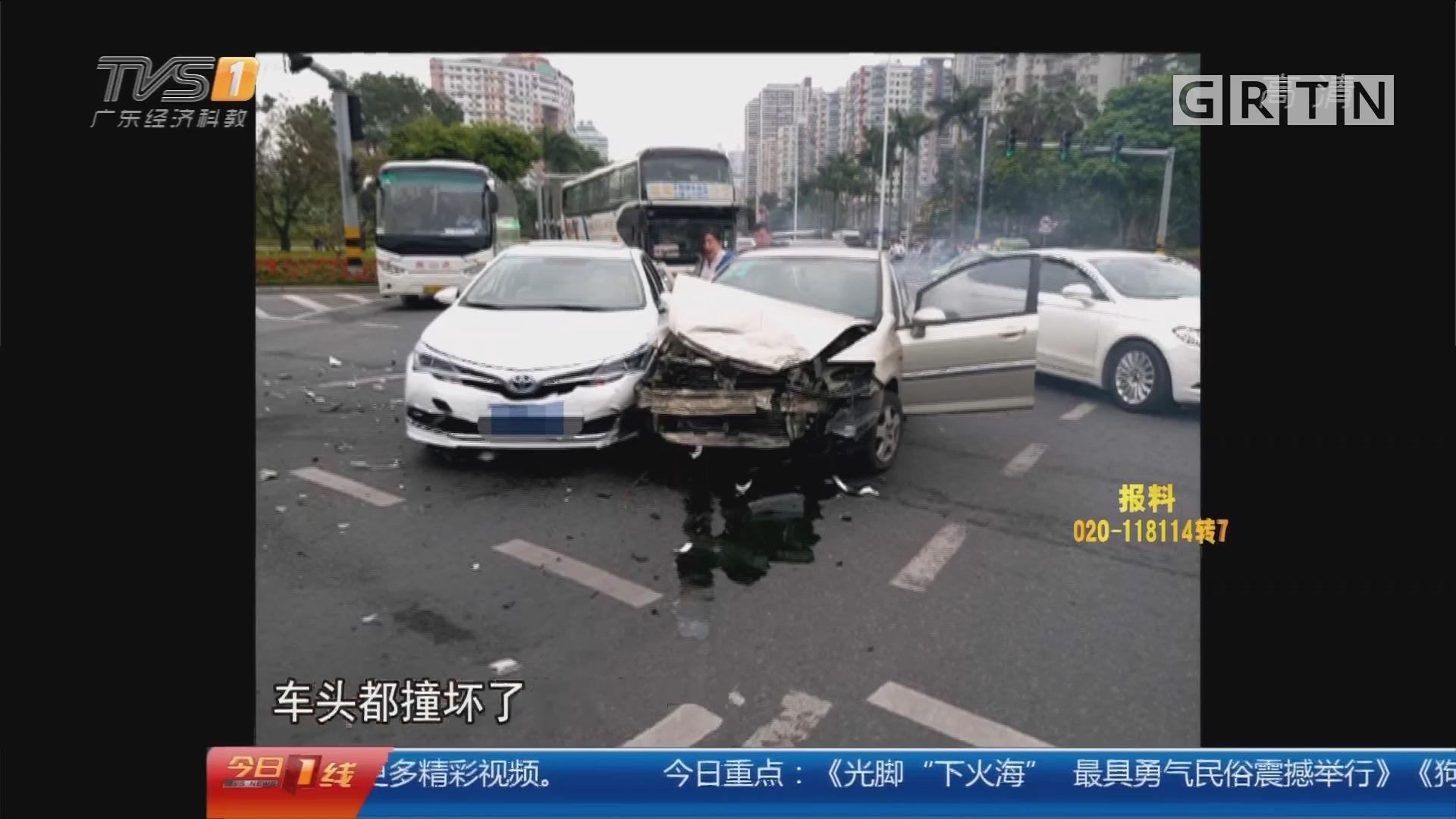 珠海拱北:惊险!小车闯红灯转个弯后连撞3车