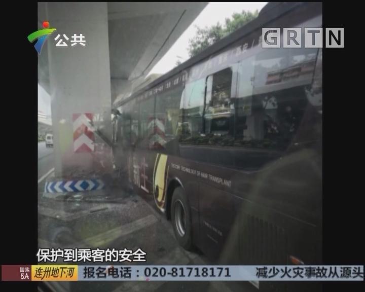 广州:苹果滚落驾驶台 司机分神撞桥墩