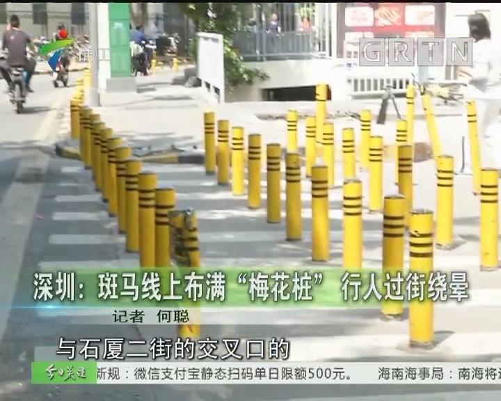 """深圳:斑马线上布满""""梅花桩""""行人过街绕晕"""