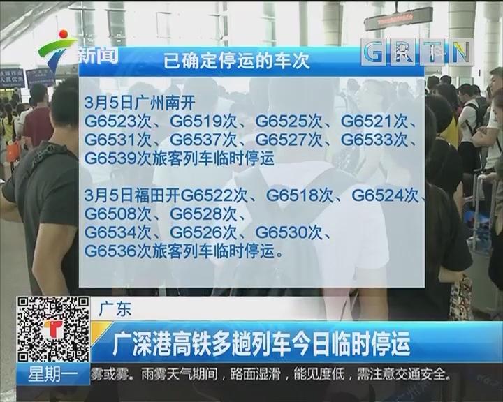 广东:广深港高铁多趟列车今日临时停运