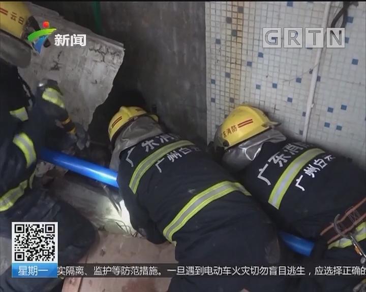 广州白云区:墙体倒塌一人被压 消防员成功救援
