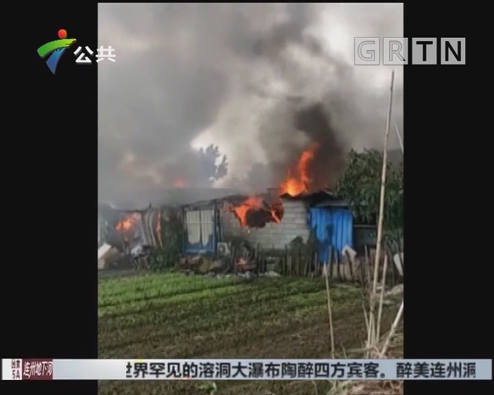 广州一仓库起火 现场浓烟滚滚