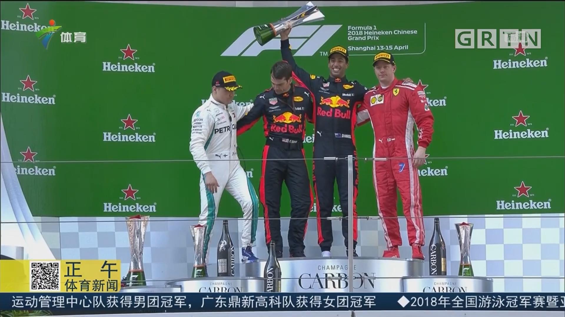 里卡多首次夺得F1上海站冠军