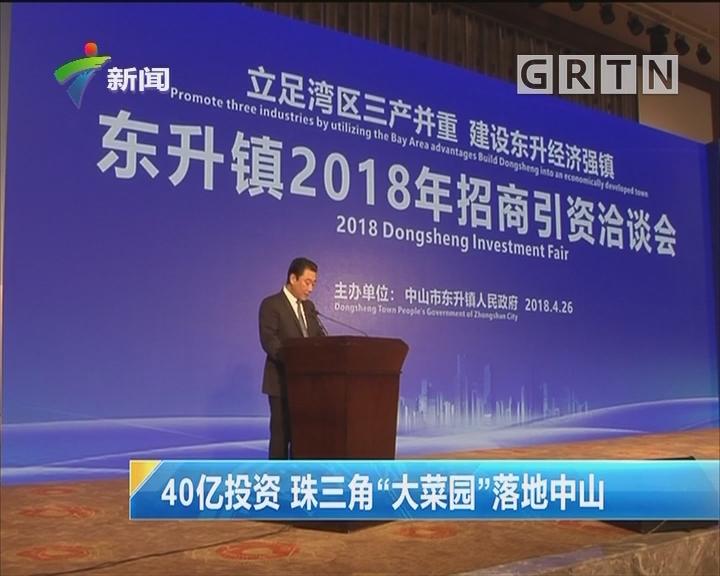 """40亿投资 珠三角""""大菜园""""落地中山"""