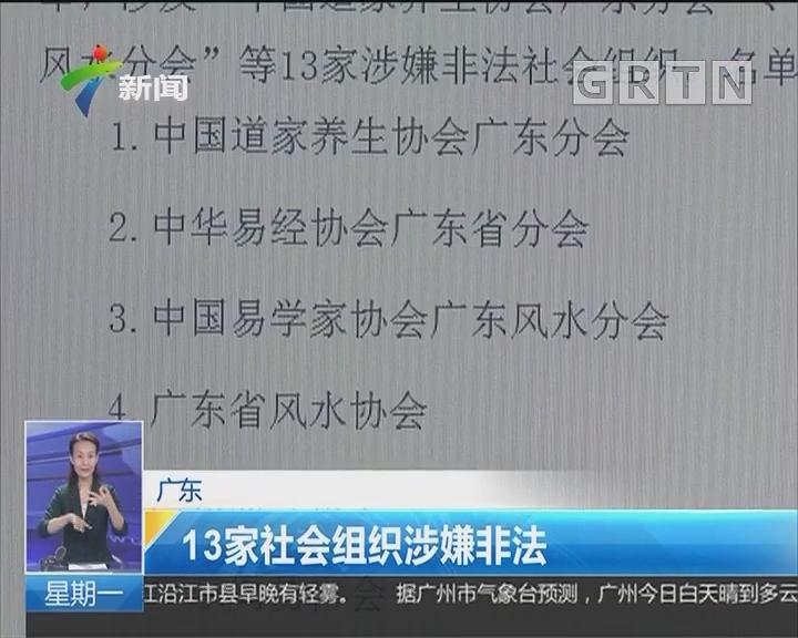 广东:13家社会组织涉嫌非法