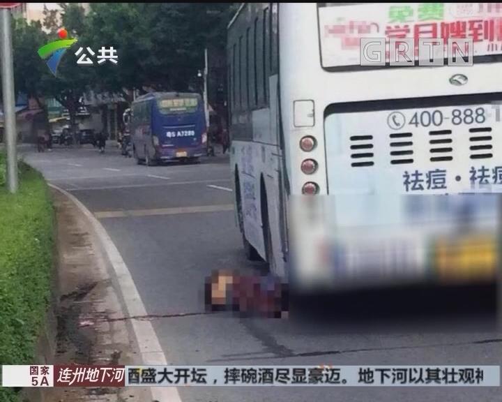 惠州:电动车逆行倒地 遭公交车碾压