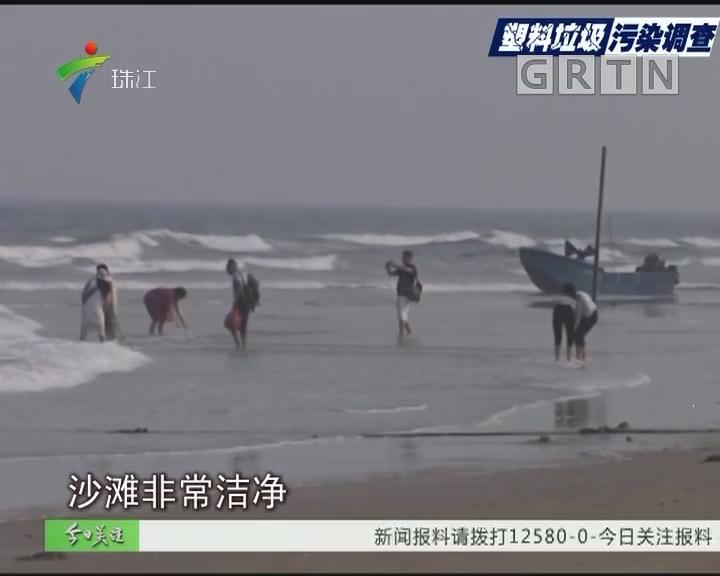 湛江:涨潮送来海洋垃圾 沙滩垃圾带延绵数百米
