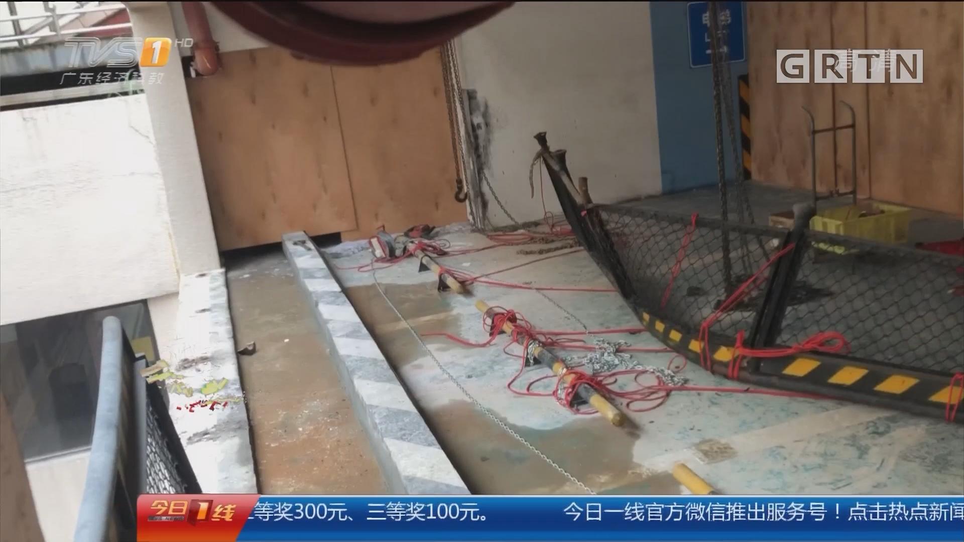 广州小车坠楼事件追踪:小车4楼坠落 出事停车位围蔽维修