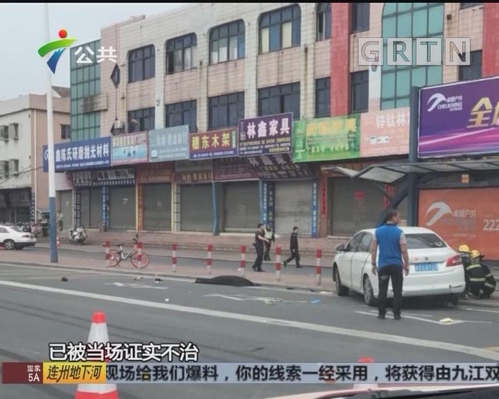 顺德:今晨一轿车突然失控 冲上公交车站